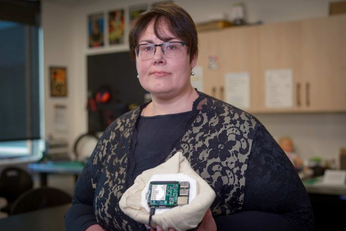 Photo: As part of her masters program, Kathy Reid developed a breast prosthetic that collects data on the wearer's recovery. (ABC News: Aaron Hollett )